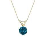 14k Yellow Gold 4-Prong Basket Certified Round-cut Blue Diamond Solitaire Pendant 0.50 ct. tw. (SI1-SI2)