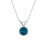 Platinum Bezel Certified Round-cut Blue Diamond Solitaire Pendant 0.50 ct. tw. (SI1-SI2)