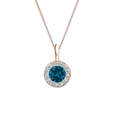 14k Rose Gold Halo Certified Round-cut Blue Diamond Solitaire Pendant 0.50 ct. tw. (SI1-SI2)