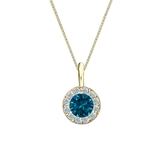 14k Yellow Gold Halo Certified Round-cut Blue Diamond Solitaire Pendant 0.50 ct. tw. (SI1-SI2)