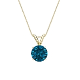 14k Yellow Gold 4-Prong Basket Certified Round-cut Blue Diamond Solitaire Pendant 0.75 ct. tw. (SI1-SI2)