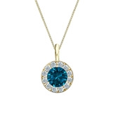 14k Yellow Gold Halo Certified Round-cut Blue Diamond Solitaire Pendant 0.75 ct. tw. (SI1-SI2)