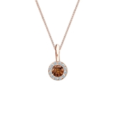 14k Rose Gold Halo Certified Round-cut Brown Diamond Solitaire Pendant 0.25 ct. tw. (SI1-SI2)