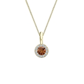 18k Yellow Gold Halo Certified Round-cut Brown Diamond Solitaire Pendant 0.25 ct. tw. (SI1-SI2)