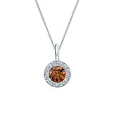 Platinum Halo Certified Round-cut Brown Diamond Solitaire Pendant 0.50 ct. tw. (SI1-SI2)