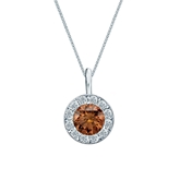 Platinum Halo Certified Round-cut Brown Diamond Solitaire Pendant 0.75 ct. tw. (SI1-SI2)