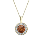 18k Yellow Gold Halo Certified Round-cut Brown Diamond Solitaire Pendant 1.00 ct. tw. (SI1-SI2)