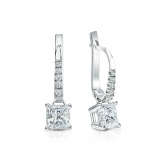 Certified Platinum Dangle Studs 4-Prong Basket Princess-Cut Diamond Earrings 1.00 ct. tw. (H-I, SI1-SI2)