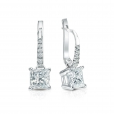 Certified Platinum Dangle Studs 4-Prong Basket Princess-Cut Diamond Earrings 1.50 ct. tw. (H-I, SI1-SI2)