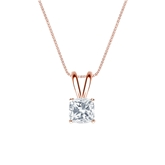 14k Rose Gold 4-Prong Basket Certified Cushion-Cut Diamond Solitaire Pendant 0.50 ct. tw. (I-J, I1)