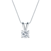 14k White Gold 4-Prong Basket Certified Cushion-Cut Diamond Solitaire Pendant 0.50 ct. tw. (I-J, I1-I2)