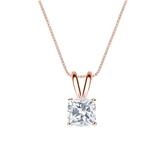 14k Rose Gold 4-Prong Basket Certified Cushion-Cut Diamond Solitaire Pendant 0.75 ct. tw. (G-H, VS2)