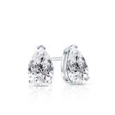 Certified 14k White Gold V-End Prong Pear Shape Diamond Stud Earrings 0.62 ct. tw. (G-H, SI1)