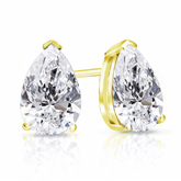 Certified 18k Yellow Gold V-End Prong Pear Shape Diamond Stud Earrings 2.00 ct. tw. (I-J, I1-I2)