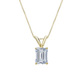 14k Yellow Gold 4-Prong Basket Certified Emerald-Cut Diamond Solitaire Pendant 0.75 ct. tw. (I-J, I1-I2)