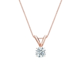 14k Rose Gold 4-Prong Basket Certified Hearts & Arrows Diamond Solitaire Pendant 0.20 ct. tw. (H-I, I1-I2)