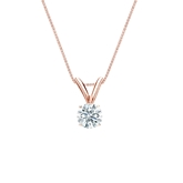 14k Rose Gold 4-Prong Basket Certified Hearts & Arrows Diamond Solitaire Pendant 0.25 ct. tw. (H-I, I1-I2)