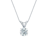 14k White Gold 4-Prong Basket Certified Hearts & Arrows Diamond Solitaire Pendant 0.50 ct. tw. (H-I, I1-I2)