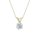 18k Yellow  Gold 4-Prong Basket Certified Hearts & Arrows Diamond Solitaire Pendant 0.50 ct. tw. (F-G, VS2)