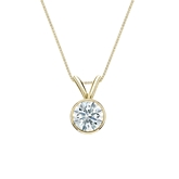18k Yellow  Gold Bezel Certified Hearts & Arrows Diamond Solitaire Pendant 0.50 ct. tw. (H-I, I1-I2)