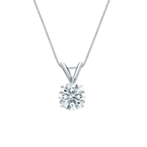 18k White Gold 4-Prong Basket Certified Hearts & Arrows Diamond Solitaire Pendant 0.63 ct. tw. (H-I, I1-I2)
