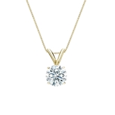 18k Yellow  Gold 4-Prong Basket Certified Hearts & Arrows Diamond Solitaire Pendant 0.63 ct. tw. (H-I, I1-I2)