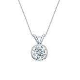 14k White Gold Bezel Certified Hearts & Arrows Diamond Solitaire Pendant 0.63 ct. tw. (H-I, I1-I2)