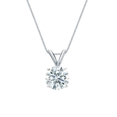 18k White Gold 4-Prong Basket Certified Hearts & Arrows Diamond Solitaire Pendant 0.75 ct. tw. (H-I, I1-I2)