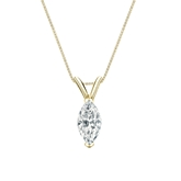 18k Yellow Gold V-End Prong Certified Marquise-Cut Diamond Solitaire Pendant 0.75 ct. tw. (G-H, VS1-VS2)