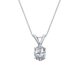 14k White Gold 4-Prong Basket Certified Oval-Cut Diamond Solitaire Pendant 0.38 ct. tw. (I-J, I1)