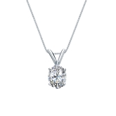 18k White Gold 4-Prong Basket Certified Oval-Cut Diamond Solitaire Pendant 0.50 ct. tw. (I-J, I1)