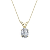 14k Yellow Gold 4-Prong Basket Certified Oval-Cut Diamond Solitaire Pendant 0.50 ct. tw. (I-J, I1)