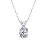 14k White Gold 4-Prong Basket Certified Oval-Cut Diamond Solitaire Pendant 1.00 ct. tw. (I-J, I1)