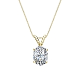 18k Yellow Gold 4-Prong Basket Certified Oval-Cut Diamond Solitaire Pendant 1.00 ct. tw. (I-J, I1)