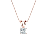 14k Rose Gold 4-Prong Basket Certified Princess-Cut Diamond Solitaire Pendant 0.25 ct. tw. (I-J, I1-I2)