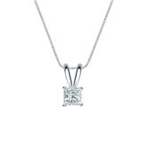 14k White Gold 4-Prong Basket Certified Princess-Cut Diamond Solitaire Pendant 0.25 ct. tw. (I-J, I1-I2)