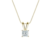 14k Yellow Gold 4-Prong Basket Certified Princess-Cut Diamond Solitaire Pendant 0.25 ct. tw. (I-J, I1-I2)