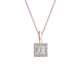 14k Rose Gold Certified Princess-Cut Diamond Halo Pendant 0.25 ct. tw. (I-J, I1-I2)