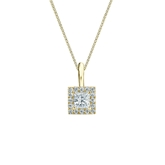 18k Yellow Gold Certified Princess-Cut Diamond Halo Pendant 0.25 ct. tw. (I-J, I1-I2)