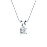 18k White Gold 4-Prong Basket Certified Princess-Cut Diamond Solitaire Pendant 0.31 ct. tw. (I-J, I1-I2)
