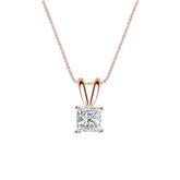 14k Rose Gold 4-Prong Basket Certified Princess-Cut Diamond Solitaire Pendant 0.38 ct. tw. (I-J, I1-I2)