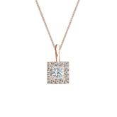14k Rose Gold Certified Princess-Cut Diamond Halo Pendant 0.38 ct. tw. (I-J, I1-I2)