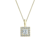 18k Yellow Gold Certified Princess-Cut Diamond Halo Pendant 0.38 ct. tw. (I-J, I1-I2)