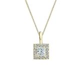 14k Yellow Gold Certified Princess-Cut Diamond Halo Pendant 0.38 ct. tw. (G-H, VS2)