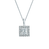 Platinum Certified Princess-Cut Diamond Halo Pendant 0.50 ct. tw. (I-J, I1-I2)