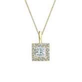 14k Yellow Gold Certified Princess-Cut Diamond Halo Pendant 0.50 ct. tw. (I-J, I1-I2)
