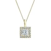 14k Yellow Gold Certified Princess-Cut Diamond Halo Pendant 0.50 ct. tw. (G-H, VS2)