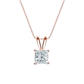 14k Rose Gold 4-Prong Basket Certified Princess-Cut Diamond Solitaire Pendant 0.63 ct. tw. (I-J, I1-I2)