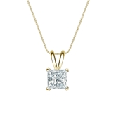 14k Yellow Gold 4-Prong Basket Certified Princess-Cut Diamond Solitaire Pendant 0.75 ct. tw. (I-J, I1-I2)