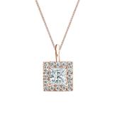 14k Rose Gold Certified Princess-Cut Diamond Halo Pendant 0.75 ct. tw. (I-J, I1-I2)